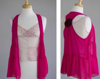 Women's clothing boho pink shrug flowered leggings with sheer lace top rosette accent on vest
