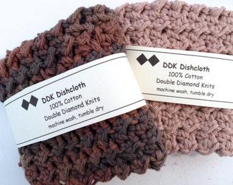 Dishcloths or Washcloths, set of 2, 100% cotton 'Desert Sunset' crochet