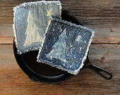Blue Jean Potholders - Snowy Pine Denim Pot Holders - The Best Potholders Ever