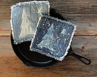 Blue Jean Potholders - Snowy Pine Denim Pot Holders - The Best Potholders Ever