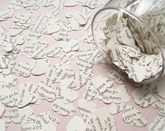 1000 Shakespeare Heart Novel Book Confetti - Vintage Wedding - Table Decoration Paper Hearts