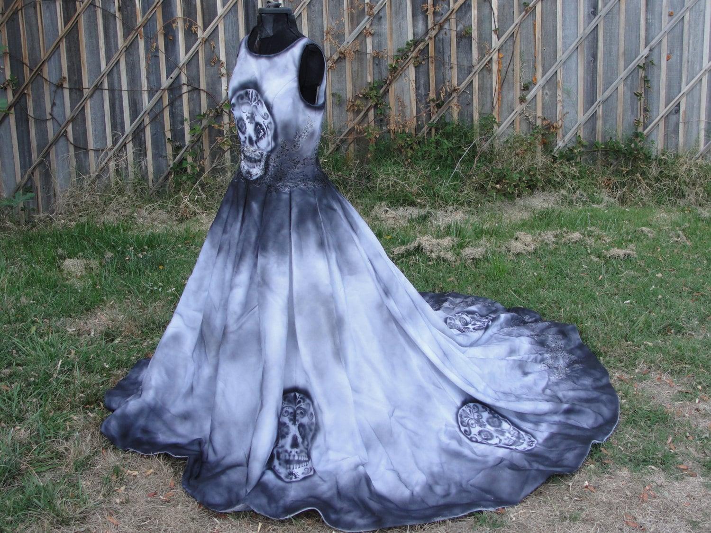 Large size 12 hand painted sugar skull skeleton wedding dress for Sugar skull wedding dress