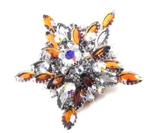 Spectacular Star Brooch Topaz and Aurora Borealis Crystals Silver Tone Mount