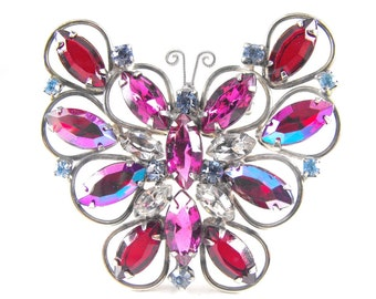Vintage Butterfly Brooch Red Purple Rhinestone Pendant Converter Large Size