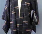 Mid-Century Wool Haori Kimono with Swallowtail Butterflies