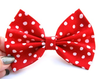 SALE - Kelsy Hair Bow - Red and White Polkadot Hair Bow with Clip