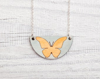 Yellow Butterfly Necklace, Yellow  Pendant, Wooden Necklace, Mother Day Gift, Kids Jewelry, Childrens Gift