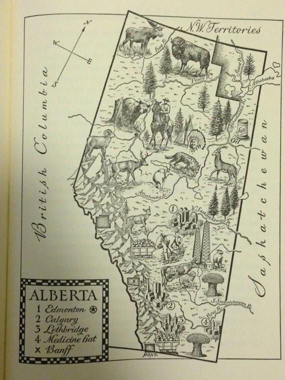 Alberta Map Print Canada Map Decor Vintage Map Of Alberta