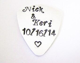 Personalized Couple Guitar Pick, Date Guitar Pick, Hand Stamped Gift, Wedding Guitar Pick, Hand Stamped Names, Custom Guitar Pick, heart