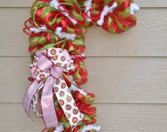 Christmas Wreath Candy Cane - Lime Green and Red - Seuss