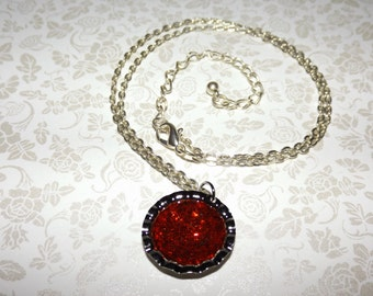 Metallic Crushed Rubies Marble Necklace