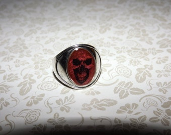 Metallic Red Insidious Skull Marble Ring