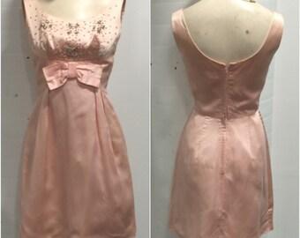 Baby Pink 1940s Satin Jewelled Dress