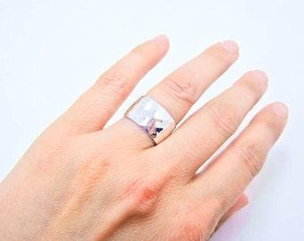 Sterling Silver Ring - Wide Silver Ring - Wide Sterling Silver Ring - Wide Silver Band - Faceted Silver Band