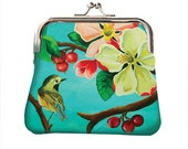 Coin purse, printed, illustrated, flowers, bird, blossom