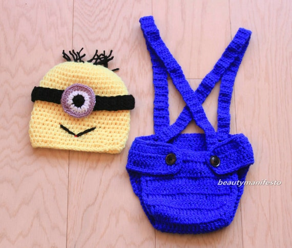 Crochet Patterns For Baby Overalls : Baby Boy Crochet Despicable Me Outfit. Minion by ...