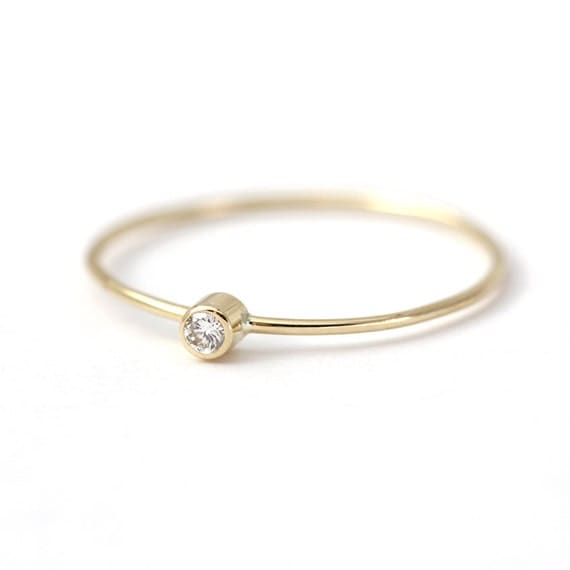 Simple Engagement Ring - Baby Diamond Ring - 14k Solid Gold