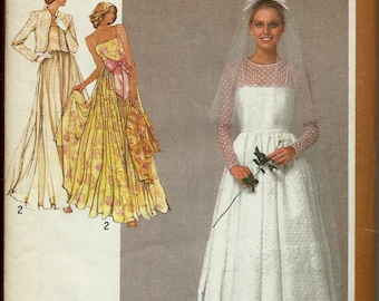 VTG Simplicity 9364 Wedding Gown, Bridal, Bridesmaid Dress and Jacket Pattern, Size 12