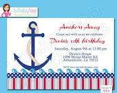 Anchor Birthday Invitations - Printed Invitations - Custom Invitations