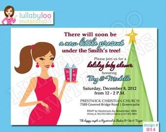 Christmas Baby Shower Invitations - Printed Baby Shower Invitations - Custom Invitations