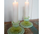 Hobnail Vaseline Glass Candlesticks, Uranium Glass Candlesticks, Fenton Opalescent Vaseline Ware, Candle Holders, Set of 2, No Mark