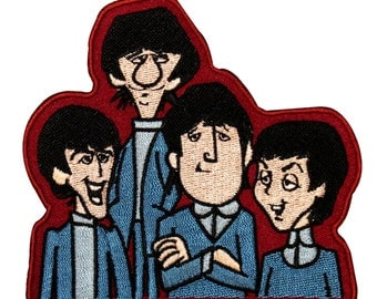 The Beatles Cartoon English Rock Band Members Embroidered Iron On Applique Patch