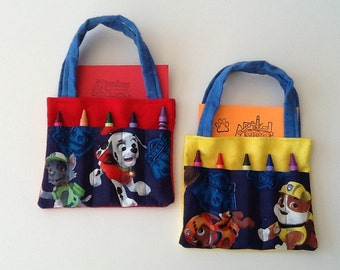 Paw Patrol Children's Crayon Bag and Customized Paper, Birthday Party Favor