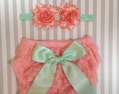 Baby girl bloomer set-pink and mint baby outfit-lace bloomers-cake smash outfit-photo prop-baby shower gift-lace baby bloomers
