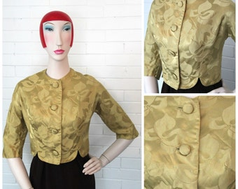 Vintage 1950s/1960s Mad Men Gold Brocade Cropped Jacket L/XL