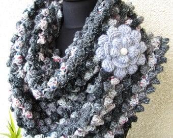 Crochet Scarf PATTERN-Infinity Scarf Pattern-Circle Scarf-DIY-Popcorn Crochet Tutorial-Instant Download PDF Pattern No.73 by Lyubava Crochet