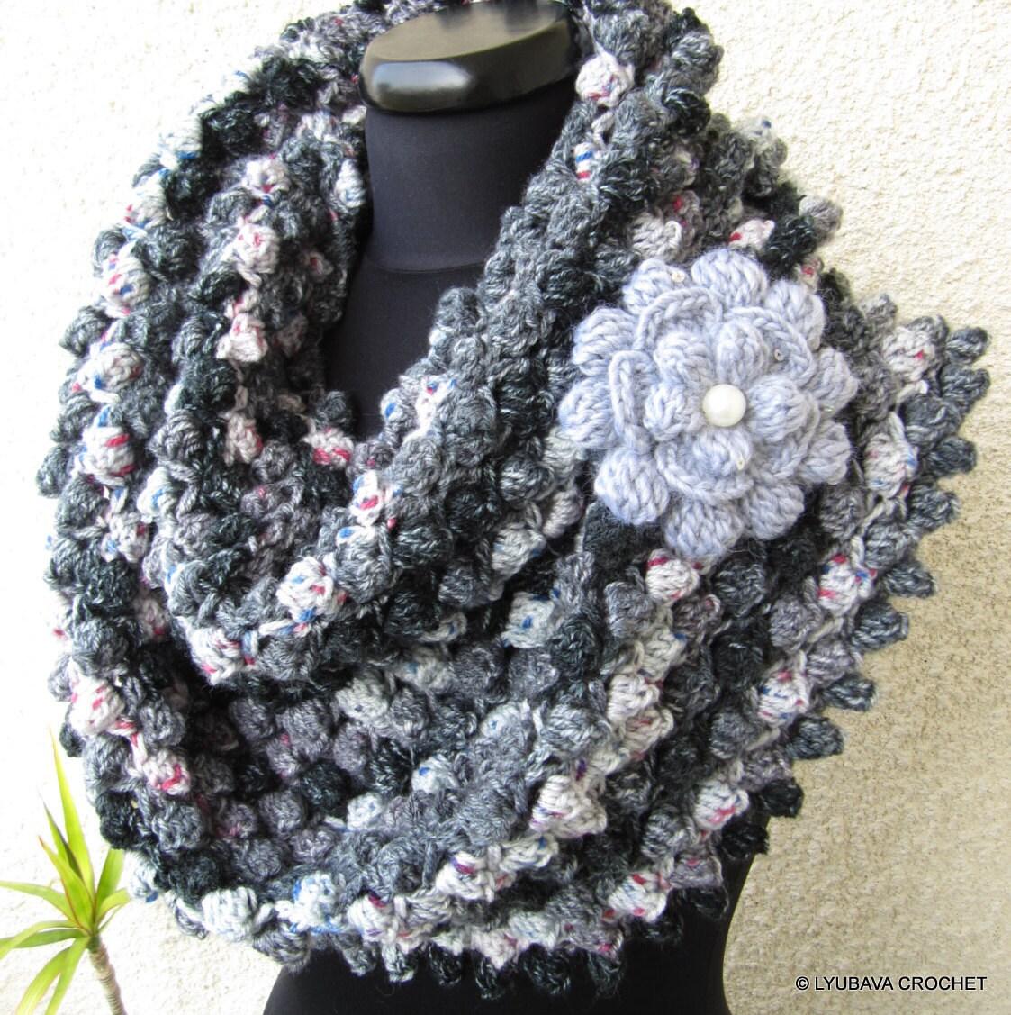 Crochet Scarf Patterns With Popcorn Stitch : Crochet Scarf PATTERN Infinity Scarf Flower Pattern DIY