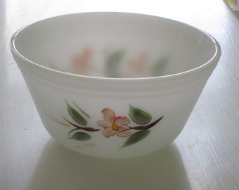 Vintage Milk Glass Bowl with Handpainted Pink Flowers by Federal Glass Co.