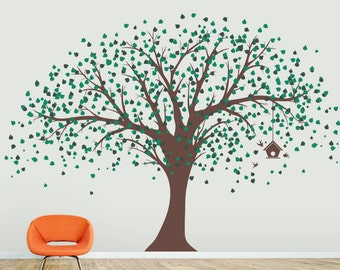 Ginormous Tree with Birdhouse Vinyl Wall Decal - Tree Wall Sticker Decal, Nature Wall Decal, Nursery Tree Wall Decal, Large Tree Decal