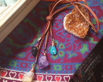 Rear view Mirror good Luck charm - You choose stones - Leather lace