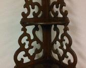 "24"" Three Tier Vintage Wooden Shelf, Stamped Butler Style # A1-588, Vintage Rustic Wood Corner Display Shelf"