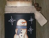 MADE TO ORDER-Primitive Country Snowman Decor with led Tealite