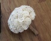 Wedding Bouquet, Ivory Sola wood Bouquet, Wood Bouquet, Bridal Bouquet, Sola flowers, Bouquet, Handmade