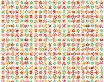 Happy Flappers  - 1 Yard Cut - Novelty Fabric  - Circles Cream - Cotton Fabric - Riley Blake Designs - Owl Fabric