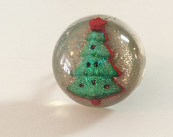 Christmas Tree Ring - Christmas Ring - Christmas Jewelry - Resin Christmas Tree Ring - Handmade Christmas Ring - Christmas Gifts