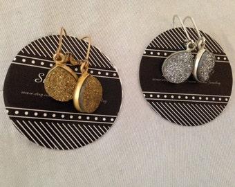 Silver or gold teardrop druzy earrings.