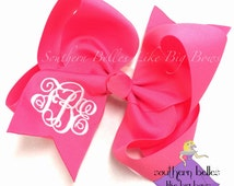 Jumbo Monogrammed Bow in Hot Pink, Hot Pink Monogrammed Bow, Hot Pink Jumbo Bow with Monogram