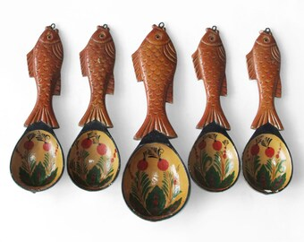 Vintage Russian Wooden Spoons, Decorative Spoon Carved Fish, Hand Painted Spoons, Folk Style, set of 5