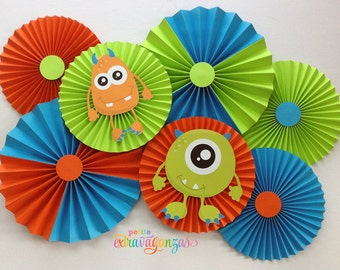 Monster Paper Rosettes/ Fans - Orange, Turquoise, and Lime Green