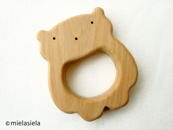 Safe Baby Toys : Organic wooden teether teething toy natural