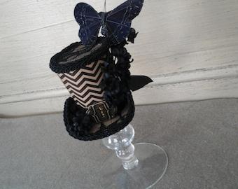 Black tan chevron  print tiny top hat costume or cosplay piece