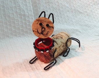 Fe-Wine cork cat ornament or decoration