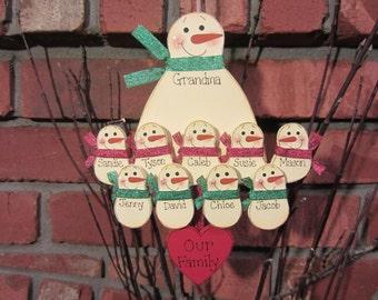 10 Family Members:  Personalized Snowman Ornament, Single Adult parent grandparent