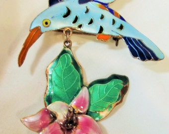 Brooch Vintage Hummingbird and Flower Gorgeous Hand Enamel Work Artisan Crafted Vintage Big Bold Unique Exotic Boho Rare