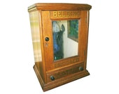 Rare 1870's Victorian Antique Oak Belding Bros Spool Dry Goods Country Mercantile General Store Sewing Cabinet Cupboard Shelves Mirror