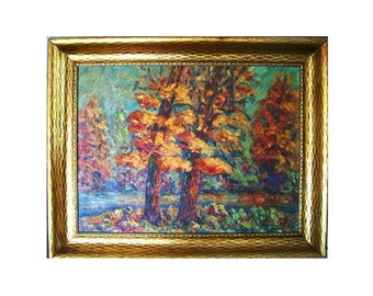 Vintage 1920s Impressionist Landscape Listed Florence Morris Arts & Crafts Plein Air Oil Painting on Board Autumn Trees River Stream Cabin